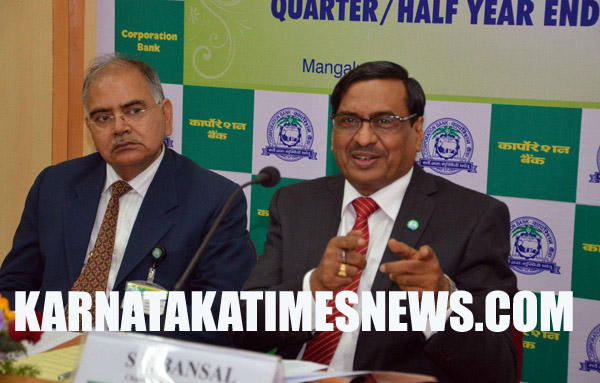 "Mangalore, Nov,11,2015: Shri S R Bansal , Chairman & Managing Director of Corporation Bank addressing  the occasion of Financial Results of the Bank for the Quarter/Half year Ended 30st Septmber 2015"" on saturday Nov,11,2015  at Corporate Office of the Corporation Bank in Mangalore. Executive Director  B. K. Srivastav  present on this moment.Pic by R.K.BHAT,MANGALURU,KARNATAKA,INDIA"